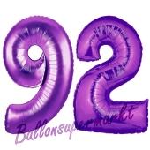 Zahl 92, Lila, Luftballons aus Folie zum 92. Geburtstag, 100 cm, inklusive Helium