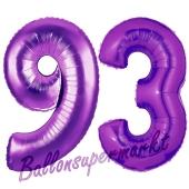 Zahl 93, Lila, Luftballons aus Folie zum 93. Geburtstag, 100 cm, inklusive Helium