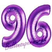 Zahl 96, Lila, Luftballons aus Folie zum 96. Geburtstag, 100 cm, inklusive Helium