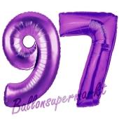 Zahl 97, Lila, Luftballons aus Folie zum 97. Geburtstag, 100 cm, inklusive Helium