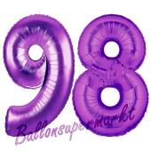 Zahl 98, Lila, Luftballons aus Folie zum 98. Geburtstag, 100 cm, inklusive Helium