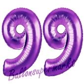Zahl 99, Lila, Luftballons aus Folie zum 99. Geburtstag, 100 cm, inklusive Helium
