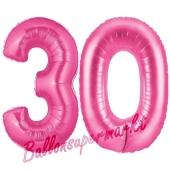 Zahl 30, Pink, Luftballons aus Folie zum 30. Geburtstag, 100 cm, inklusive Helium