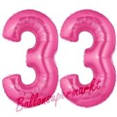 Zahl 33, Pink, Luftballons aus Folie zum 33. Geburtstag, 100 cm, inklusive Helium