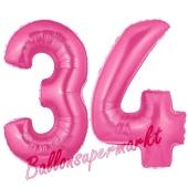 Zahl 34, Pink, Luftballons aus Folie zum 34. Geburtstag, 100 cm, inklusive Helium