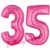 Zahl 35, Pink, Luftballons aus Folie zum 35. Geburtstag, 100 cm, inklusive Helium