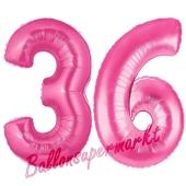 Zahl 36, Pink, Luftballons aus Folie zum 36. Geburtstag, 100 cm, inklusive Helium