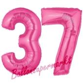 Zahl 37, Pink, Luftballons aus Folie zum 37. Geburtstag, 100 cm, inklusive Helium