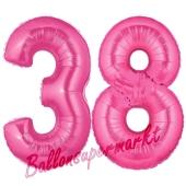 Zahl 38, Pink, Luftballons aus Folie zum 38. Geburtstag, 100 cm, inklusive Helium