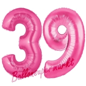 Zahl 39, Pink, Luftballons aus Folie zum 39. Geburtstag, 100 cm, inklusive Helium