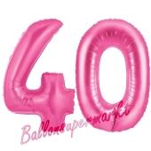 Zahl 40, Pink, Luftballons aus Folie zum 40. Geburtstag