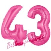 Zahl 43, Pink, Luftballons aus Folie zum 43. Geburtstag, 100 cm, inklusive Helium