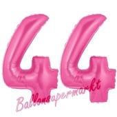 Zahl 44, Pink, Luftballons aus Folie zum 44. Geburtstag, 100 cm, inklusive Helium