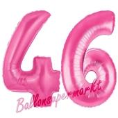Zahl 46, Pink, Luftballons aus Folie zum 46. Geburtstag, 100 cm, inklusive Helium