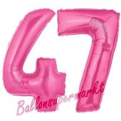 Zahl 47, Pink, Luftballons aus Folie zum 47. Geburtstag, 100 cm, inklusive Helium