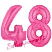 Zahl 48, Pink, Luftballons aus Folie zum 48. Geburtstag, 100 cm, inklusive Helium