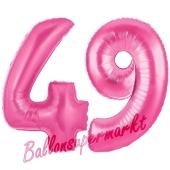Zahl 49, Pink, Luftballons aus Folie zum 49. Geburtstag, 100 cm, inklusive Helium