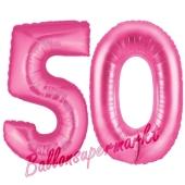 Zahl 50, Pink, Luftballons aus Folie zum 50. Geburtstag