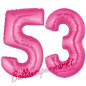 Zahl 53, Pink, Luftballons aus Folie zum 53. Geburtstag, 100 cm, inklusive Helium