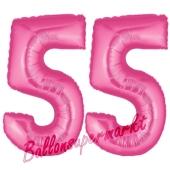 Zahl 55, Pink, Luftballons aus Folie zum 55. Geburtstag, 100 cm, inklusive Helium