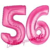 Zahl 56, Pink, Luftballons aus Folie zum 56. Geburtstag, 100 cm, inklusive Helium