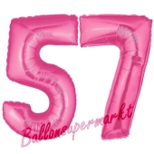 Zahl 57, Pink, Luftballons aus Folie zum 57. Geburtstag, 100 cm, inklusive Helium