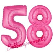 Zahl 58, Pink, Luftballons aus Folie zum 58. Geburtstag, 100 cm, inklusive Helium