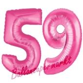 Zahl 59, Pink, Luftballons aus Folie zum 59. Geburtstag, 100 cm, inklusive Helium