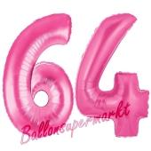 Zahl 64, Pink, Luftballons aus Folie zum 64. Geburtstag, 100 cm, inklusive Helium