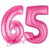 Zahl 65, Pink, Luftballons aus Folie zum 65. Geburtstag, 100 cm, inklusive Helium