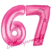 Zahl 67, Pink, Luftballons aus Folie zum 67. Geburtstag, 100 cm, inklusive Helium