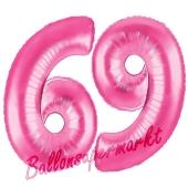 Zahl 69, Pink, Luftballons aus Folie zum 69. Geburtstag, 100 cm, inklusive Helium