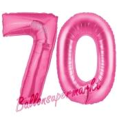 Zahl 70, Pink, Luftballons aus Folie zum 70. Geburtstag