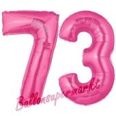 Zahl 73, Pink, Luftballons aus Folie zum 73. Geburtstag, 100 cm, inklusive Helium