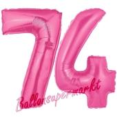 Zahl 74, Pink, Luftballons aus Folie zum 74. Geburtstag, 100 cm, inklusive Helium