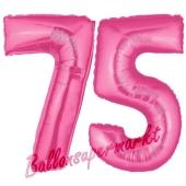 Zahl 75, Pink, Luftballons aus Folie zum 75. Geburtstag, 100 cm, inklusive Helium