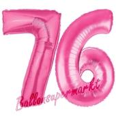 Zahl 76, Pink, Luftballons aus Folie zum 76. Geburtstag, 100 cm, inklusive Helium