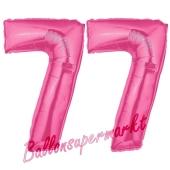 Zahl 77, Pink, Luftballons aus Folie zum 77. Geburtstag, 100 cm, inklusive Helium