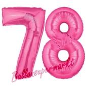 Zahl 78, Pink, Luftballons aus Folie zum 78. Geburtstag, 100 cm, inklusive Helium