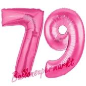 Zahl 79, Pink, Luftballons aus Folie zum 79. Geburtstag, 100 cm, inklusive Helium