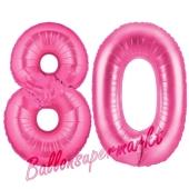 Zahl 80, Pink, Luftballons aus Folie zum 80. Geburtstag