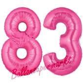 Zahl 83, Pink, Luftballons aus Folie zum 83. Geburtstag, 100 cm, inklusive Helium