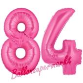 Zahl 84, Pink, Luftballons aus Folie zum 84. Geburtstag, 100 cm, inklusive Helium