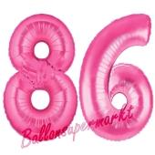 Zahl 86, Pink, Luftballons aus Folie zum 86. Geburtstag, 100 cm, inklusive Helium