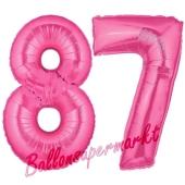 Zahl 87, Pink, Luftballons aus Folie zum 87. Geburtstag, 100 cm, inklusive Helium