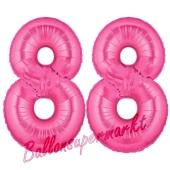 Zahl 88, Pink, Luftballons aus Folie zum 88. Geburtstag, 100 cm, inklusive Helium