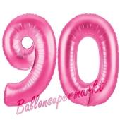 Zahl 90, Pink, Luftballons aus Folie zum 90. Geburtstag