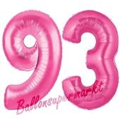 Zahl 93, Pink, Luftballons aus Folie zum 93. Geburtstag, 100 cm, inklusive Helium