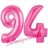 Zahl 94, Pink, Luftballons aus Folie zum 94. Geburtstag, 100 cm, inklusive Helium