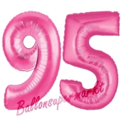 Zahl 95, Pink, Luftballons aus Folie zum 95. Geburtstag, 100 cm, inklusive Helium